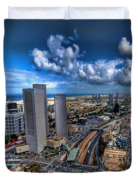 Tel Aviv center skyline Duvet Cover by Ron Shoshani
