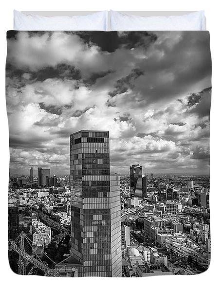Tel Aviv high and above Duvet Cover by Ron Shoshani