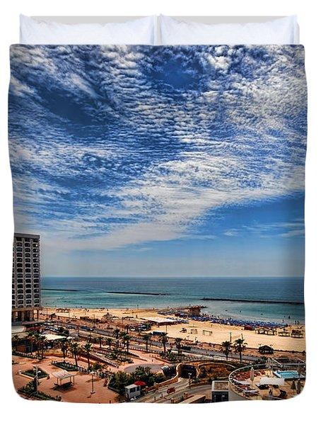 Tel Aviv summer time Duvet Cover by Ron Shoshani