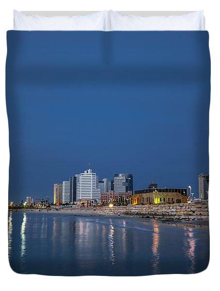Tel Aviv The Blue Hour Duvet Cover by Ron Shoshani