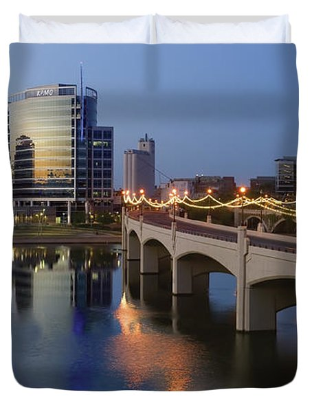 Tempe Town Lake Pano Duvet Cover by Dave Dilli