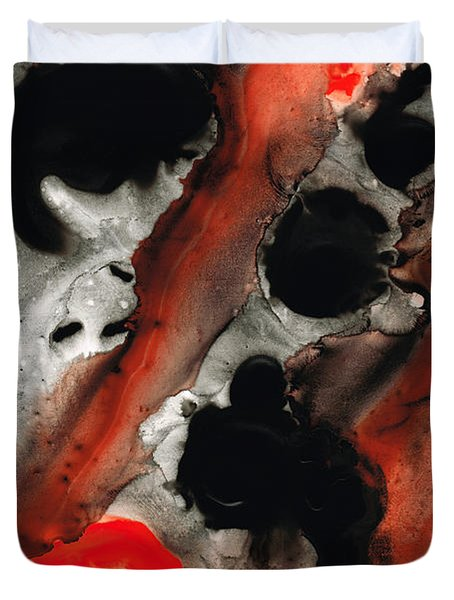 Tempest - Red And Black Painting Duvet Cover by Sharon Cummings