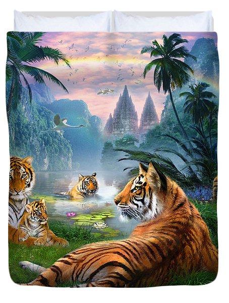 Temple Lake Tigers Duvet Cover by Jan Patrik Krasny