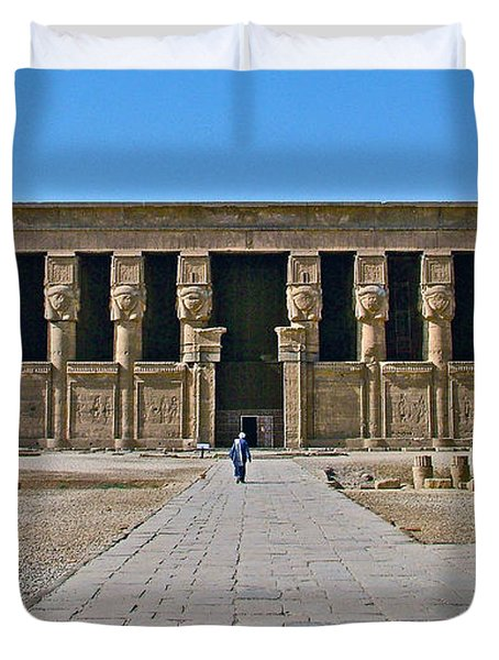 Temple of Hathor near Dendera-Egypt Duvet Cover by Ruth Hager