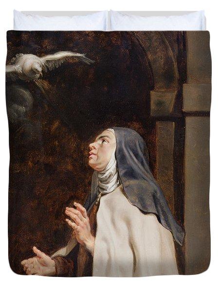 Teresa Of Avilas Vision Of A Dove Duvet Cover by Peter Paul Rubens