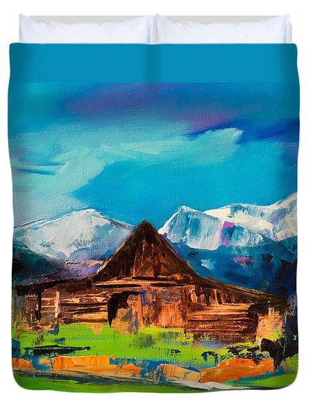 Teton Barn  Duvet Cover by Elise Palmigiani