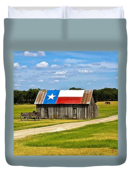 Texas Barn Flag Duvet Cover by Gary Grayson