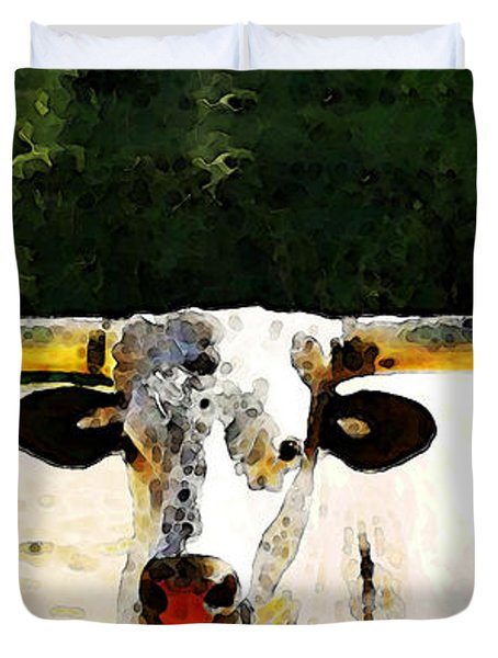 Texas Longhorn - Bull Cow Duvet Cover by Sharon Cummings