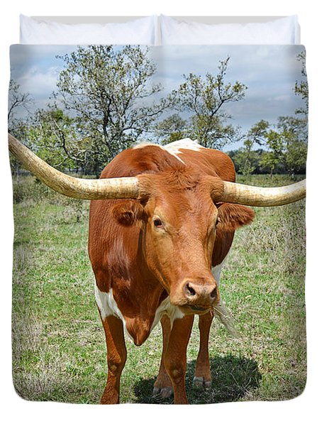 Texas Longhorn Duvet Cover by Christine Till