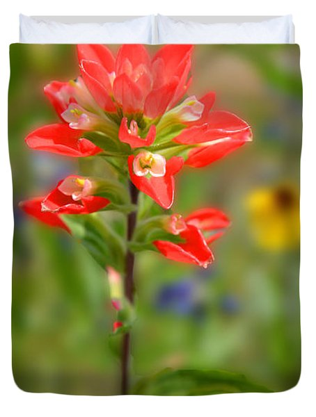 Texas Red Indian Paintbrush Duvet Cover by Lynn Bauer