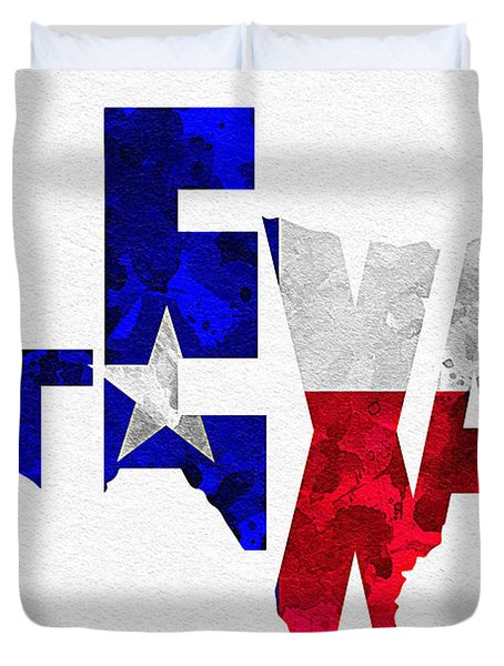 Texas Typographic Map Flag Duvet Cover by Ayse Deniz