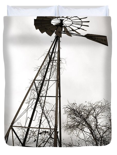 Texas Windmill Duvet Cover by Marilyn Hunt