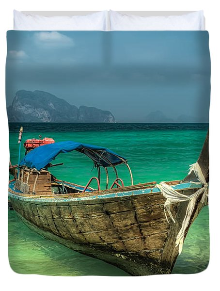 Thai Boat Duvet Cover by Adrian Evans