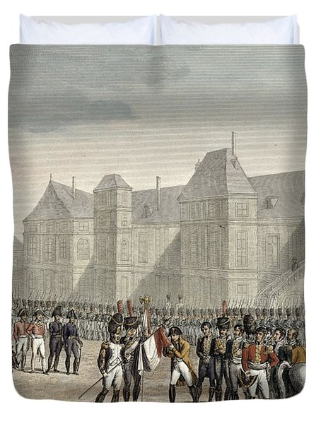 The Abdication Of Napoleon Duvet Cover by Louis Francois Couche