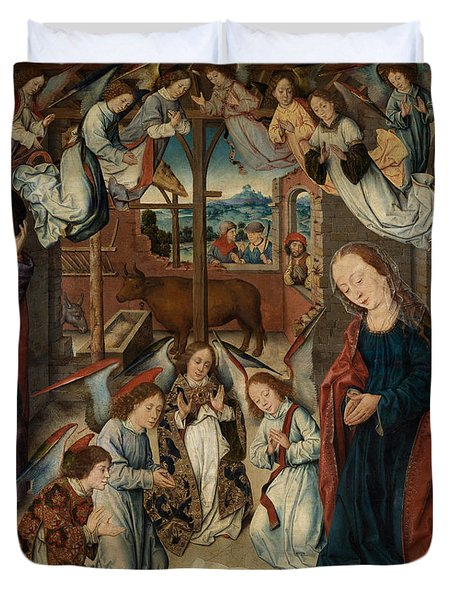 The Adoration Of The Shepherds Duvet Cover by Albrecht Bouts
