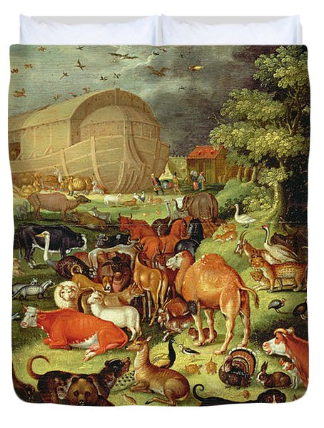 The Animals Entering The Ark Duvet Cover by Jacob II Savery