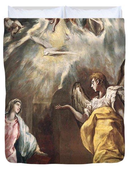 The Annunciation Duvet Cover by El Greco Domenico Theotocopuli