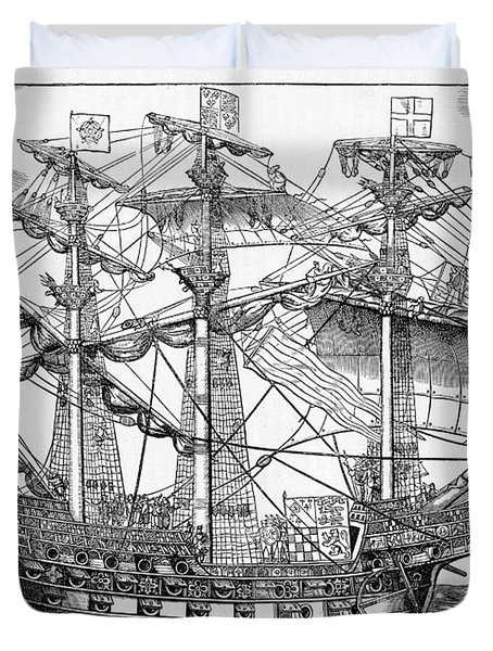 The Ark Raleigh The Flagship Of The English Fleet From Leisure Hour Duvet Cover by English School