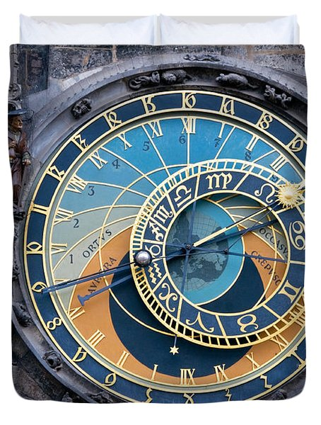 The Astronomical Clock In Prague Duvet Cover by Michal Bednarek