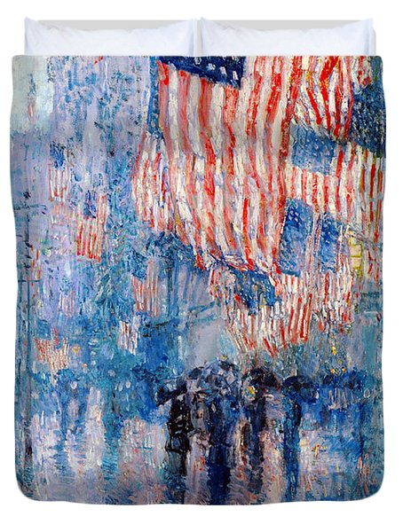 The Avenue In The Rain Duvet Cover by Frederick Childe Hassam
