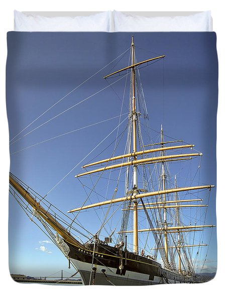 The Balclutha Historic 3 Masted Schooner - San Francisco Duvet Cover by Daniel Hagerman