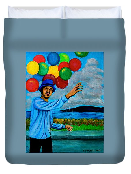The Balloon Vendor Duvet Cover by Cyril Maza