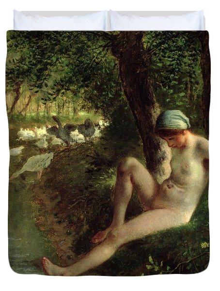 The Bather Duvet Cover by Jean Francois Millet