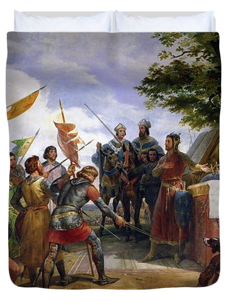 The Battle Of Bouvines Duvet Cover by Emile Jean Horace Vernet