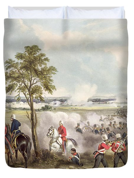 The Battle Of Goojerat On 21st February Duvet Cover by Henry Martens