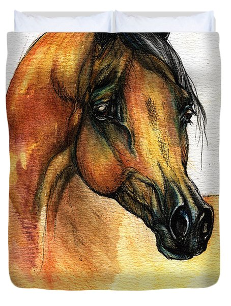 The Bay Arabian Horse 14 Duvet Cover by Angel  Tarantella