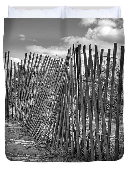 The Beach Fence Duvet Cover by Scott Norris