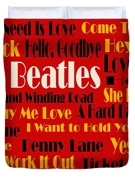 The Beatles 20 Classic Rock Songs 2 Duvet Cover by Andee Design