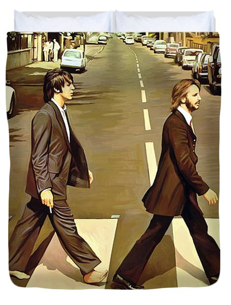 The Beatles Abbey Road Artwork Duvet Cover by Sheraz A