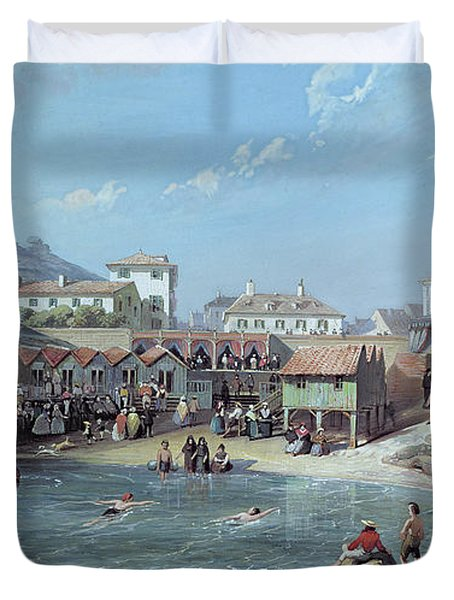 The Beginning Of Sea Swimming In The Old Port Of Biarritz  Duvet Cover by Jean Jacques Alban de Lesgallery