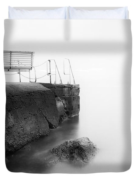 The Bench And The Fog Duvet Cover by Erik Brede