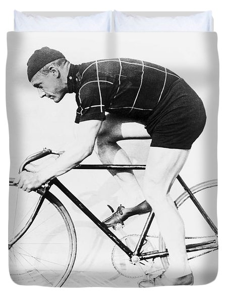 The Bicyclist - 1914 Duvet Cover by Daniel Hagerman