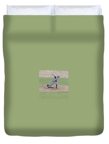 The Big Baseball Pitch Digital Art Duvet Cover by Thomas Woolworth