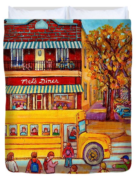 The Big Yellow School Bus Street Scene Paintings Of Montreal Duvet Cover by Carole Spandau