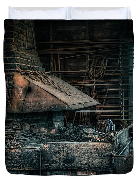 The Blacksmith's Forge - Industrial Duvet Cover by Gary Heller