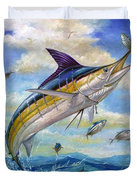 The Blue Marlin Leaping To Eat Duvet Cover by Terry  Fox