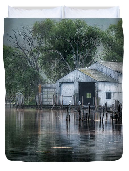 The Boathouse Duvet Cover by Bill  Wakeley