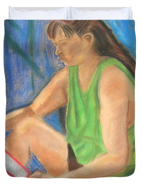 The Book Worm Duvet Cover by Cori Solomon