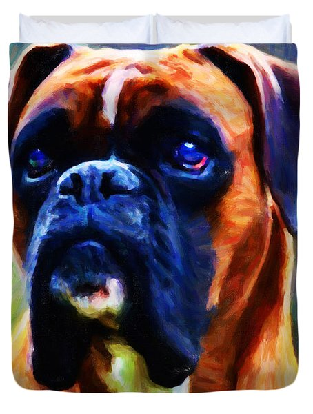 The Boxer - Painterly Duvet Cover by Wingsdomain Art and Photography