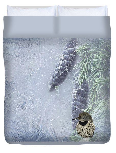 The Breath Of Old Man Winter Duvet Cover by Diane Schuster