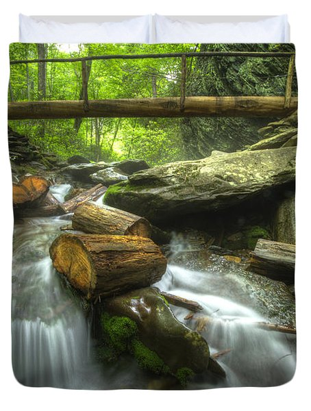 The Bridge at Alum Cave Duvet Cover by Debra and Dave Vanderlaan