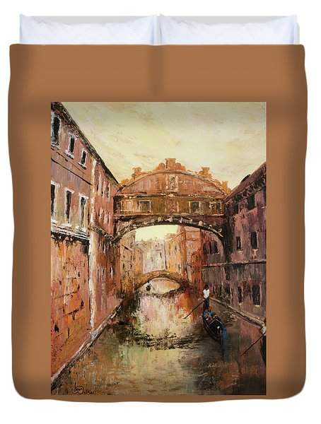 The Bridge Of Sighs Venice Italy Duvet Cover by Jean Walker