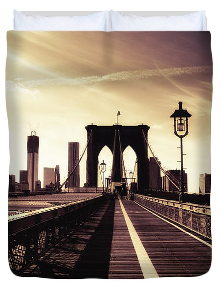 The Brooklyn Bridge - New York City Duvet Cover by Vivienne Gucwa