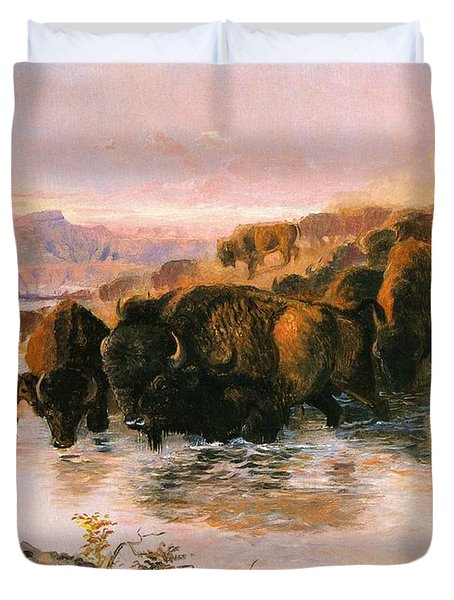 The Buffalo Herd Duvet Cover by Charles Russell
