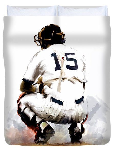 The Captain  Thurman Munson Duvet Cover by Iconic Images Art Gallery David Pucciarelli