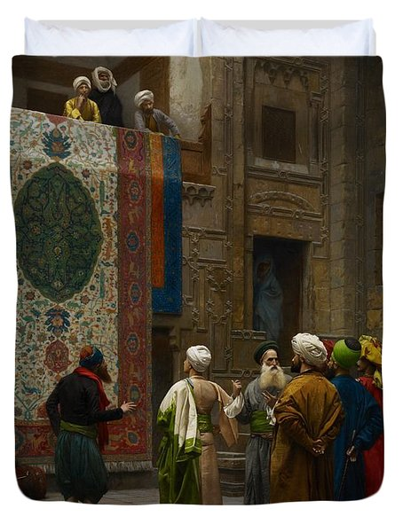 The Carpet Merchant Duvet Cover by Jean Leon Gerome
